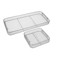 Classic Crimped Wire Mesh Baskets, Tilted Handles