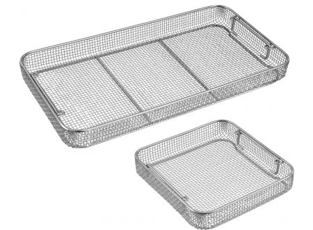 Wire Mesh Sterilization Baskets, Drop Handles