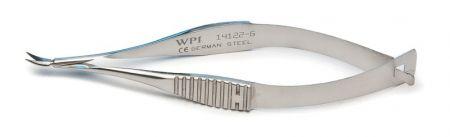 "Vannas Scissors, 8cm (3""), 5mm Blades, 0.1mm Tips, Curved, German Made, Stainless Steel, WPI Premium"