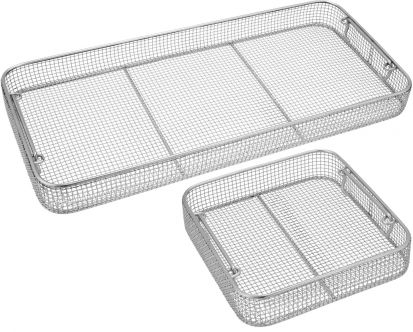 Classic Crimped Wire Mesh Sterilization Baskets, Tilted Handles