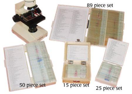 Prepared Microscope Slide Set - 15 pieces