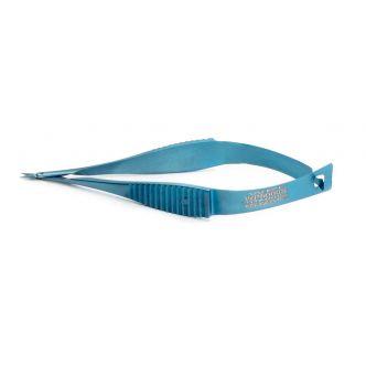 """Vannas Scissors, 8 cm (3""""), Non-Magnetic, Titanium, Straight or Angled Up Tips, WPI Premium"""