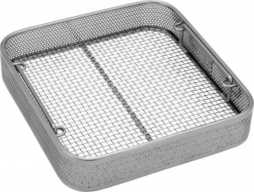 Square perforated basket with wire mesh base